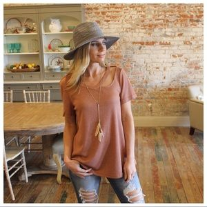 ✨LAST✨Terra Cotta Cut Out Detail Neckline Tunic